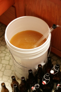 Graf in bottling bucket, where I add sugar and a little casking yeast.